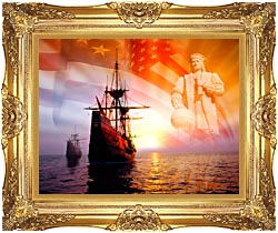 Visions of America Christopher Columbus American Flag Sailing Ships canvas with Majestic Gold frame