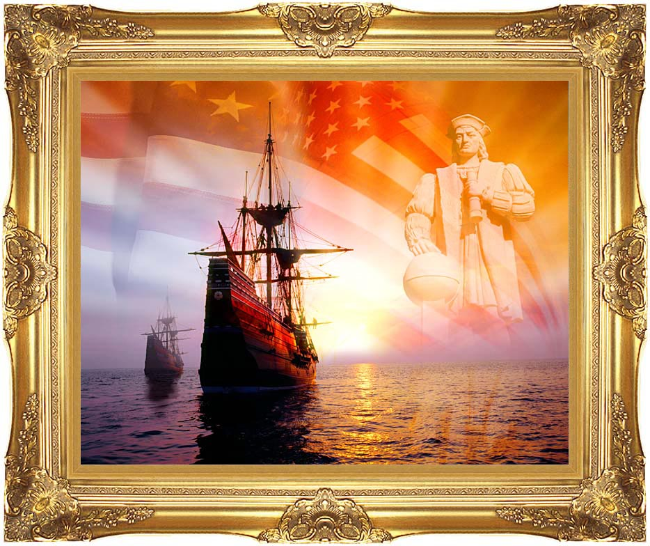 Visions of America Christopher Columbus, American Flag, Sailing Ships with Majestic Gold Frame