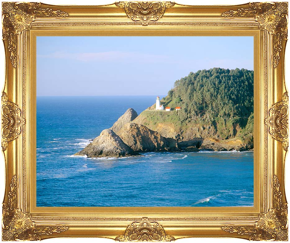 Visions of America Heceta Lighthouse, Oregon with Majestic Gold Frame