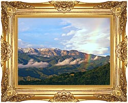 Visions of America Rainbow Over Topa Topa Mountains In Ojai California canvas with Majestic Gold frame