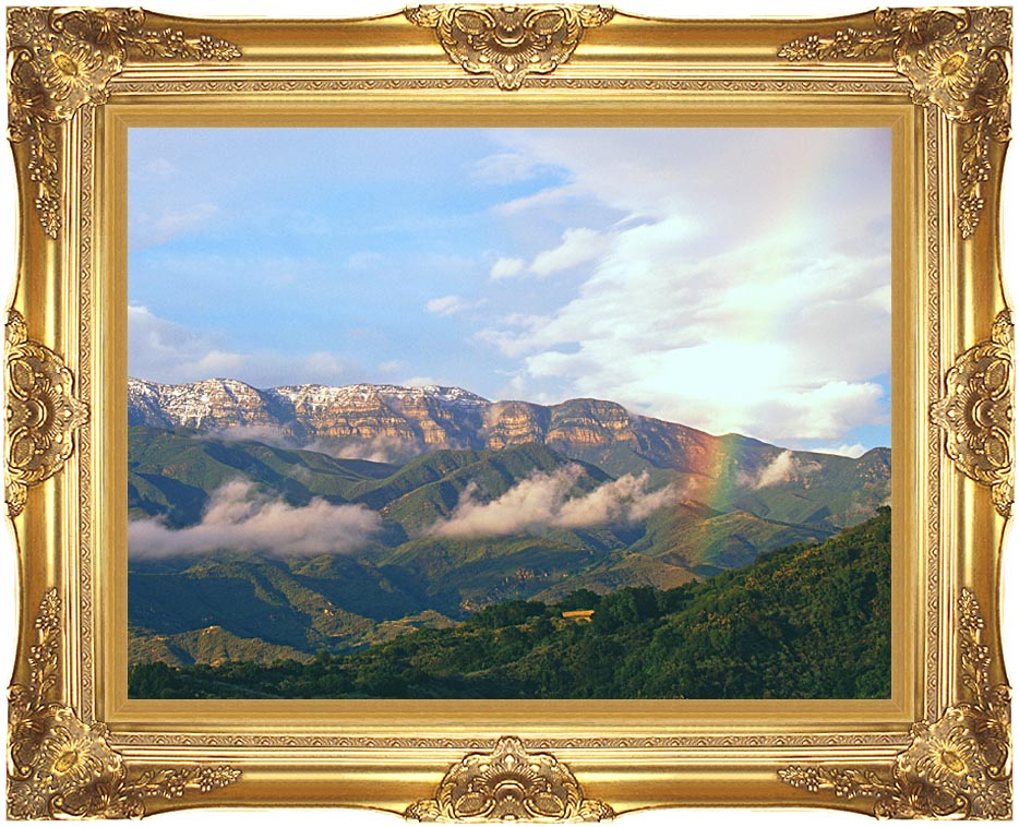 Visions of America Rainbow over Topa Topa Mountains in Ojai, California with Majestic Gold Frame