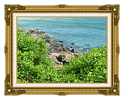 Brandie Newmon Marginal Way Ogunquit Maine canvas with museum ornate gold frame