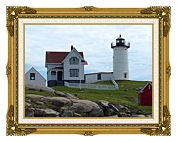 Brandie Newmon Nubble Lighthouse York Maine canvas with museum ornate gold frame