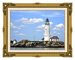Brandie Newmon Boston Lighthouse Little Brewster Island Massachusetts canvas with museum ornate gold frame