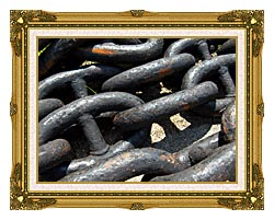 Brandie Newmon Ship Anchor Chains canvas with museum ornate gold frame