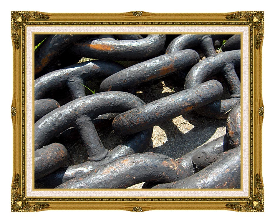 Brandie Newmon Ship Anchor Chains with Museum Ornate Frame w/Liner