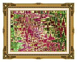 Brandie Newmon Maroon And Green Abstract canvas with museum ornate gold frame