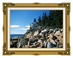 Brandie Newmon Bass Harbor Head Lighthouse canvas with museum ornate gold frame
