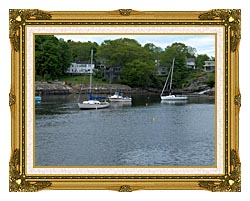 Brandie Newmon Fishing Boats In Ogunquit Maine canvas with museum ornate gold frame