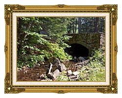 Brandie Newmon Rock Bridge At Mount Tom Massachusetts canvas with museum ornate gold frame