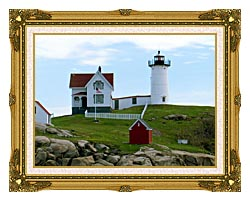 Brandie Newmon Cape Neddick Lighthouse York Maine canvas with museum ornate gold frame