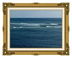 Brandie Newmon Ocean Waves In Ogunquit Maine canvas with museum ornate gold frame