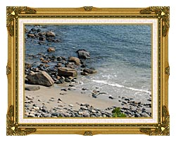 Brandie Newmon Coastline In Ogunquit Maine canvas with museum ornate gold frame
