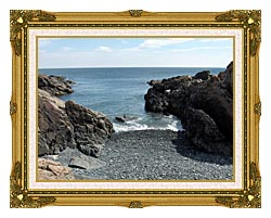 Brandie Newmon Rocks Along The Maine Coastline canvas with museum ornate gold frame