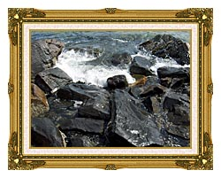 Brandie Newmon Ocean Waves Crashing Into The Rocky Maine Coast canvas with museum ornate gold frame