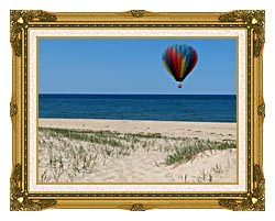 Brandie Newmon Hot Air Balloon At The Beach canvas with museum ornate gold frame