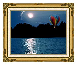 Brandie Newmon Hot Air Balloon At Night canvas with museum ornate gold frame