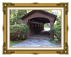 Brandie Newmon Covered Wooden Bridge canvas with museum ornate gold frame