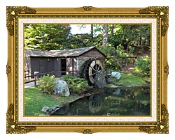 Brandie Newmon Rustic Water Mill Wheel canvas with museum ornate gold frame