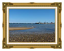 Brandie Newmon Provincetown Harbor canvas with museum ornate gold frame