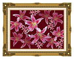 Brandie Newmon Lilies canvas with museum ornate gold frame