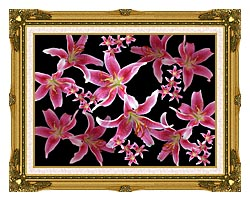 Brandie Newmon Lily canvas with museum ornate gold frame