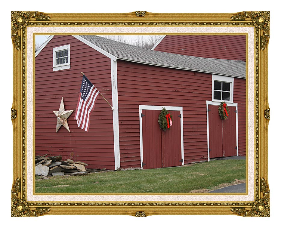 Kim O'Leary Photography Winter Red Barn with Museum Ornate Frame w/Liner