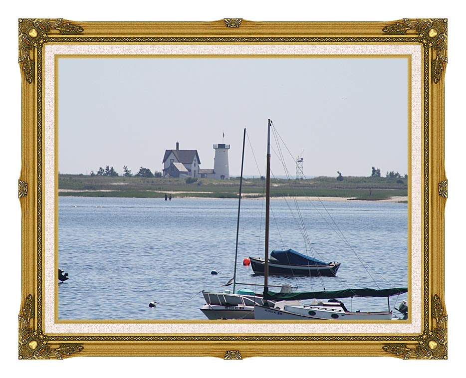 Kim O'Leary Photography Stage Harbor Lighthouse Cape Cod Massachusetts with Museum Ornate Frame w/Liner