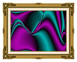 Lora Ashley Blocked Curves canvas with museum ornate gold frame