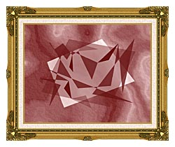 Lora Ashley Fragments Unite Cranberry Brown canvas with museum ornate gold frame