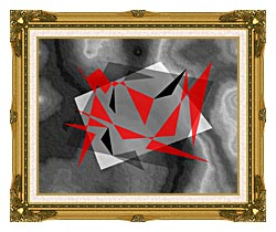 Lora Ashley Fragments Unite Red And Black canvas with museum ornate gold frame