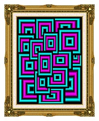 Lora Ashley Data Overload canvas with museum ornate gold frame