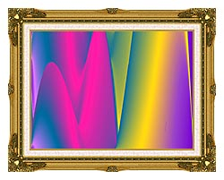 Lora Ashley Rainbow World canvas with museum ornate gold frame