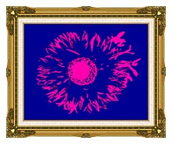 Lora Ashley Blue And Pink Flower Abstract canvas with museum ornate gold frame