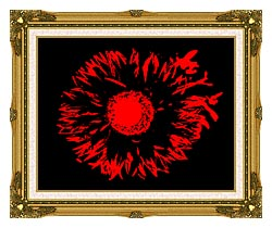 Lora Ashley Black And Red Flower Abstract canvas with museum ornate gold frame