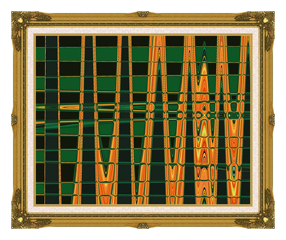 Lora Ashley Green and Orange Abstract with Museum Ornate Frame w/Liner
