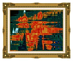 Lora Ashley Green And Orange Tapestry canvas with museum ornate gold frame