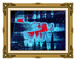 Lora Ashley Light In Blue And Red canvas with museum ornate gold frame