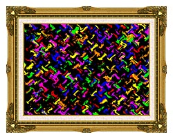 Lora Ashley Contemporary Rainbow Colors canvas with museum ornate gold frame