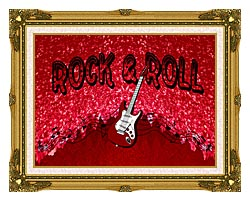 Lora Ashley Rock And Roll Guitar canvas with museum ornate gold frame