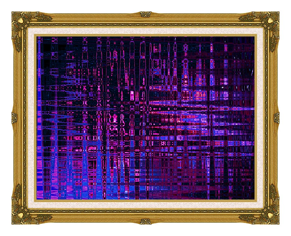 Lora Ashley Pink and Blue Light Show with Museum Ornate Frame w/Liner
