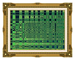 Lora Ashley Green And Blue Weave canvas with museum ornate gold frame
