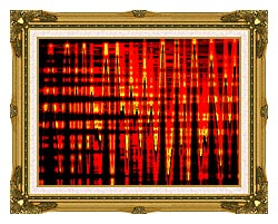 Lora Ashley Red Yellow And Black Abstract canvas with museum ornate gold frame