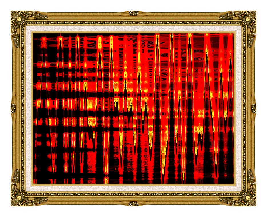 Lora Ashley Red, Yellow, and Black Abstract with Museum Ornate Frame w/Liner