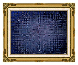 Lora Ashley Black And Blue Tapestry canvas with museum ornate gold frame