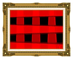 Lora Ashley Modern Black And Red Abstract canvas with museum ornate gold frame