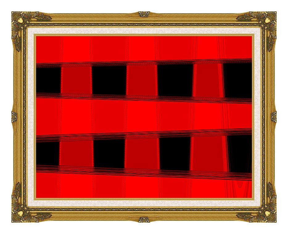 Lora Ashley Modern Black and Red Abstract with Museum Ornate Frame w/Liner