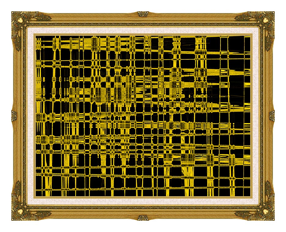Lora Ashley Contemporary Yellow Abstract with Museum Ornate Frame w/Liner