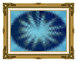 Lora Ashley Abstract Blue Flower canvas with museum ornate gold frame