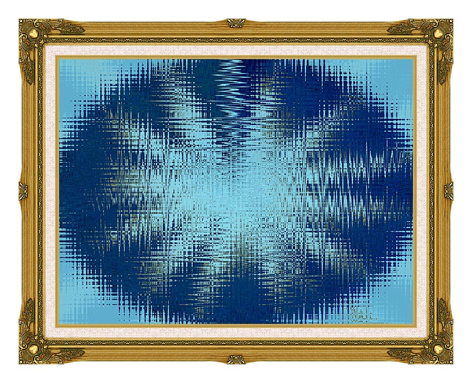 Lora Ashley Abstract Blue Flower with Museum Ornate Frame w/Liner